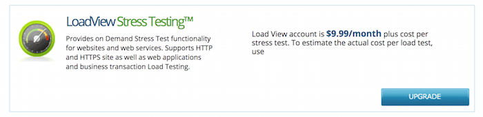 Image of LoadView testing - $9.99/mo + load test costs of each test